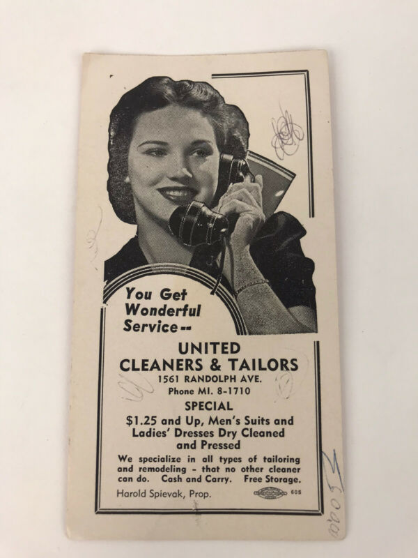 Vintage Advertising Card United Cleaners and Tailors Minneapolis MN Spievak