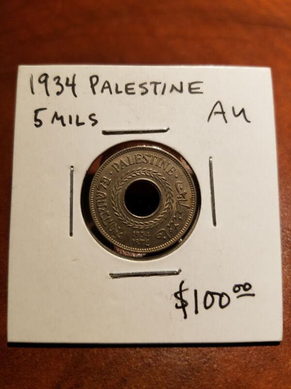Palestine Coin 5 Mils 1934 AU