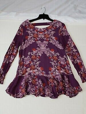 Free People Floral Tunic Long Sleeve Open Back  Blouse Size Large