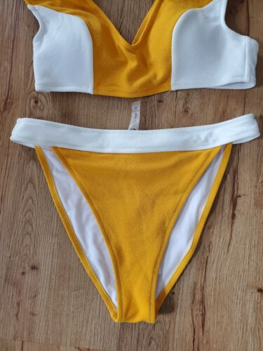 NWT Cupshe Mustard And White Retro Style Two Pirce Swimsuit Size Medium  - $15.99