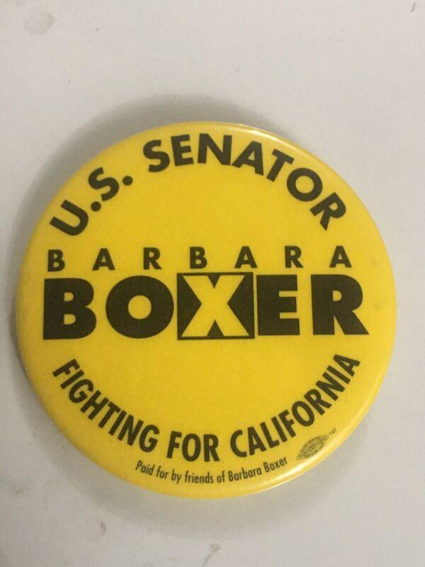 BARBARA BOXER CALIFORNIA U.S SENATOR WOMEN'S CHOICE ERA JEWISH POLITICAL PINBACK