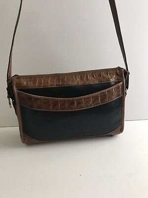 Brahmin Black Brown Embossed Croc Leather Crossbody Reporter Top ZIP Bag Purse