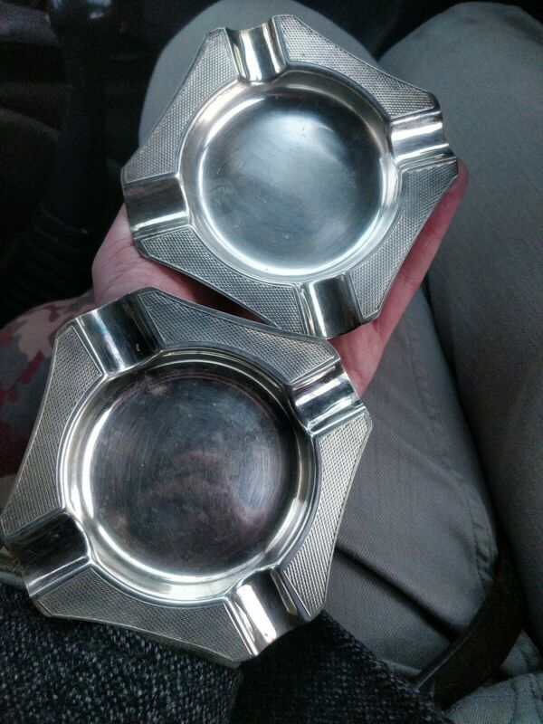 Silver Plated Ashtray X 2 deco engine turned decoration