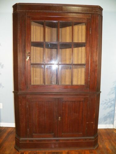 Antique Corner Cupboard Cabinet 12 Pane Divided Glass Door