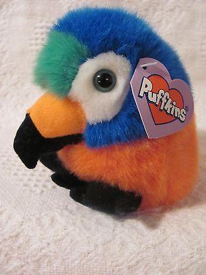 Swibco PUFFKINS Plush SQUAWK Parrot Macaw #6687 DOB 7-14-98 Bean Bag