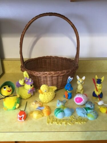 Vintage Woven Easter Basket & 15 Assorted Holiday Decorations Bunny chick (DD18)
