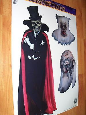 3 pc Creature Clings Halloween Window Decoration Vintage Paper Magic NOS (Window Magic Halloween)