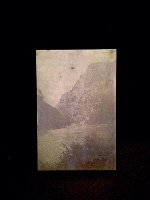 Vintage Letterpress Wood Block Printers Plate Snake River In Hells Canyon