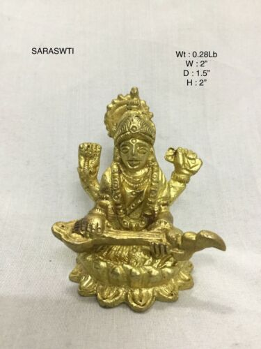 Saraswati Large Solid Brass India Goddess Mata Saraswati Maa Statue Sculpture