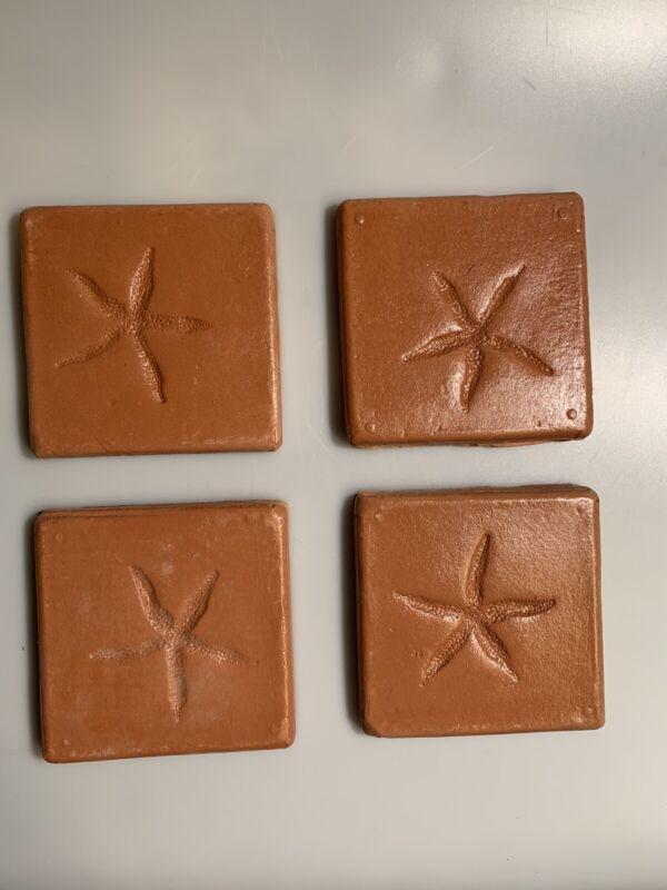 Handmade Mexican Starfish Tiles Lot Terracotta 4.5 Inch Ocean Sea Little Mermaid