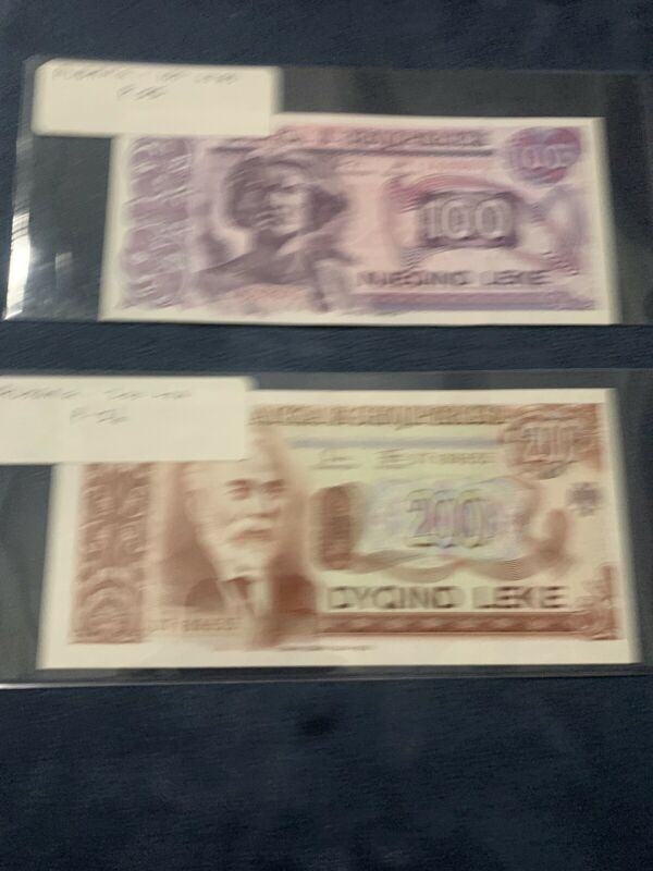 ALBANIA 100 200  LEKE UNC 1994 P.55 56 Unc