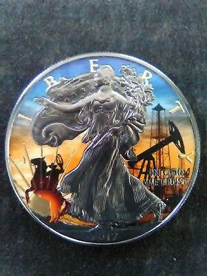 2017 American Silver Eagle TEXAS Colorized Black Ruthenium 1oz Silver coin