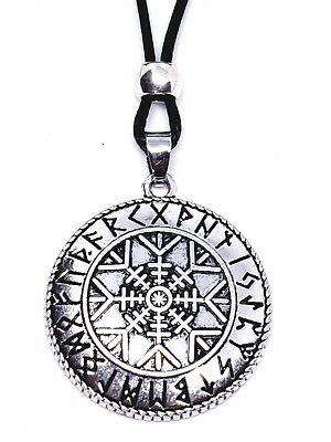 Viking Runes Helm of Awe Aegishjalmur Talisman Asatru Protect Necklace Pendant