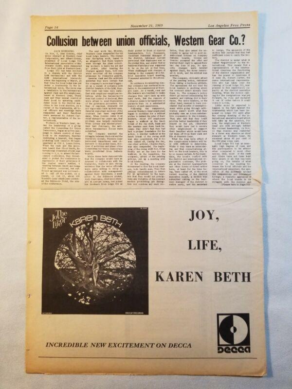 Vintage Ad Karen Beth The Joy of Life Record Album 1969 LA FREE PRESS Unframed