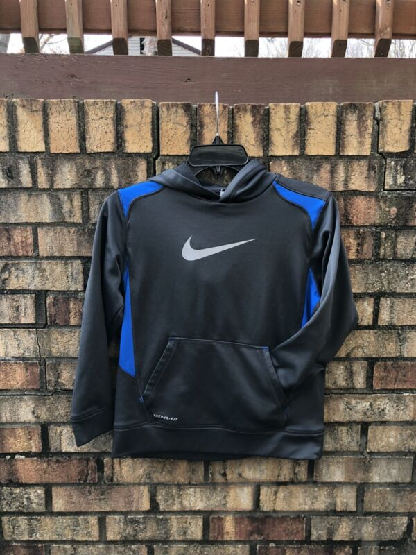 NIKE Swoosh Therma Fit Hoodie Sweatshirt Youth Medium Gray Blue Polyester EUC