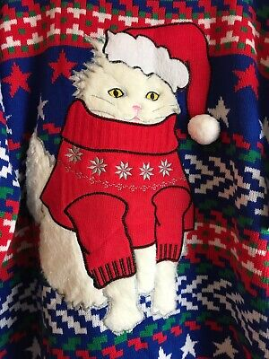 Jolly Sweaters Ugly Christmas Sweater White Cat Kitty Santa Hat Xmas Party XL (Ugly Cat Sweater)