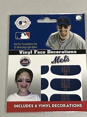 MLB Baseball Team Logo 6 Pack Eye Black Strips / Stickers - New York Mets