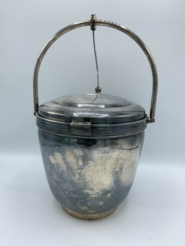 Vintage ice bucket The Sheffield Silver with Levered Lid
