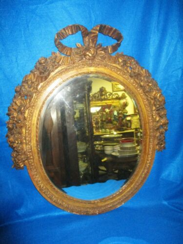 EARLY CARVED WOOD FRENCH GILT GESSO GOLD OVAL MIRROR W/ FLORAL & LG BOW