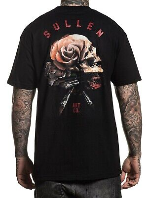 Skull And Roses Tattoo Sleeve (Sullen Men's Still Life Short Sleeve T-shirt Tattoo Skull and Rose)