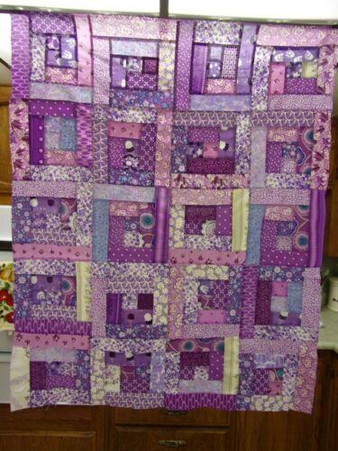 "Scrappy Purple Log Cabin Quilt Top 35"" x 43"""