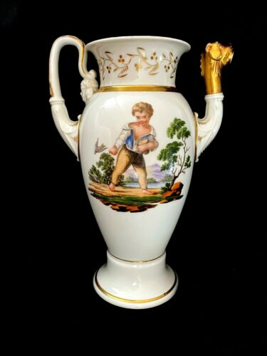 ANTIQUE EMPIRE HAND PAINTED PORCELAIN  TEA POT LION SPOUT MISSING COVER.