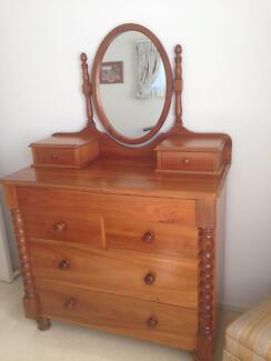 Beautiful Handcrafted Tasmanian Timber Dresser Drawers + Mirror