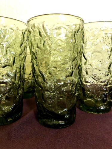 Vintage Green Drinking Glasses Lido Milano Bumpy Crinkle Tumbler Set of 6