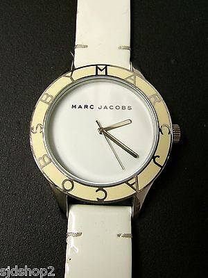 (W) MARC JACOBS BLADE WHITE WATCH LEATHER BAND MBM1099 PRE-OWNED WORKING BATTERY