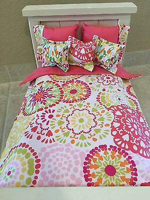 18 Inch Doll Bedding  6 Piece Set Flower Burst Handmade To Fit American Girl