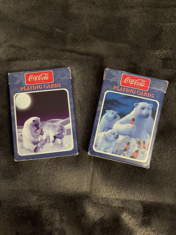 1998 COCA COLA POLAR BEAR PLAYING CARDS USED PACK OF TWO