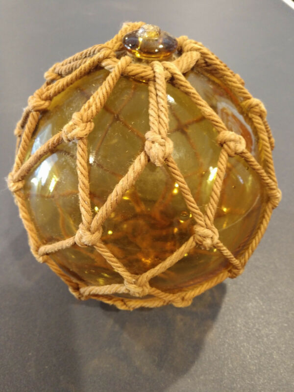 """Vintage Glass Fishing Bouy In Yellow - approx 6"""" Diameter"""