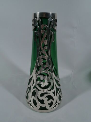 Antique Vase - E72 - Art Nouveau Cased - American Green Glass Silver Overlay