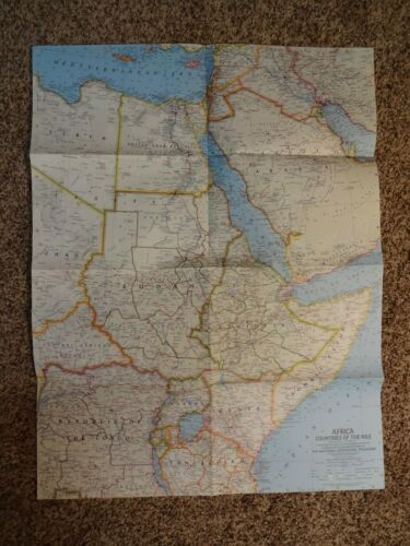 National Geographic October 1963- Map Insert Only - Africa Countries of the Nile