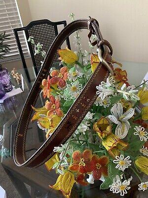 "HENRY BEGUELIN Men's Italian Leather People Dog Handmade Embroidered Belt 36-38"""