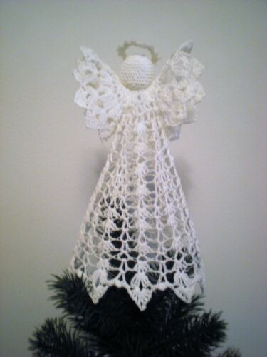 """Large 9"""" Tall Crocheted Angel Tree Topper or Christmas Decoration"""