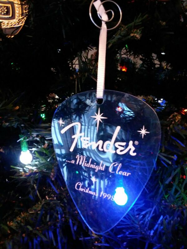 """Large 1998 FENDER """"Guitar Pick"""" Ornament """"...a Midnight Clear"""""""