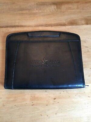 Gemline Simulated Leather Padfolio Black Calculator Zippered Organizer