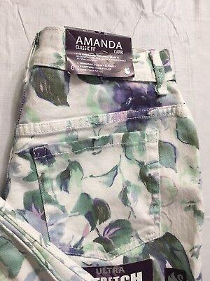 (Gloria Vanderbilt Amanda Capris Size 8 Hint Of Mint Floral Classic Fit Stretch )