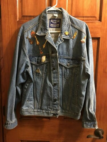Vintage Authentic Hard Rock Cafe Denver Denim Jacket w/10 Pins Size L