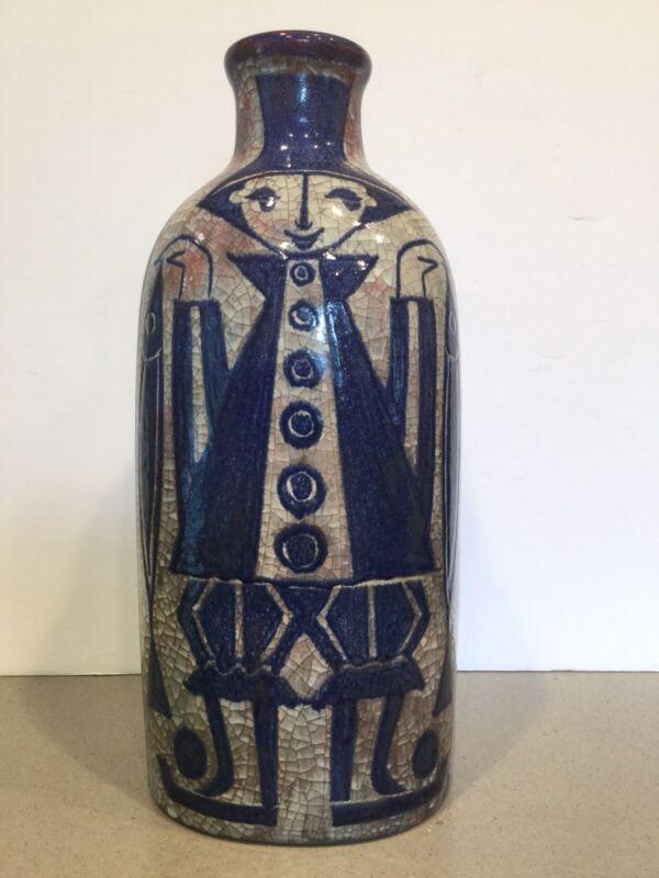 "Mid Century Modern Jens Michael Andersen Danish Art Pottery Fisherman Vase 14"""
