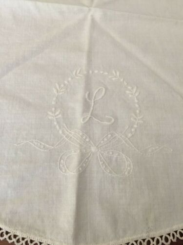 "Antique 25"" Round Handmade Monogrammed L Dresser Scarf signed by Lillian Thomas"