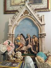 ANTIQUE HEAVY PLASTER STATIONS OF THE CROSS. RELIGIOUS MUST HAVE! Tamborine Mountain Ipswich South Preview