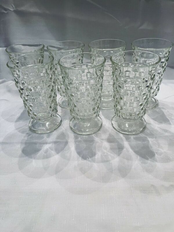 """Set of 7 Indiana Colony Whitehall Cubist Cube Clear Glass Ice Tea Tumblers - 6"""""""