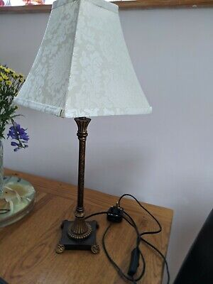 Vintage table lamp 60cm tall cream floral square shade23cm wide