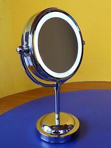kosmetikspiegel in chrom mit 5 fach vergr erung led beleuchtung 33095 ebay. Black Bedroom Furniture Sets. Home Design Ideas