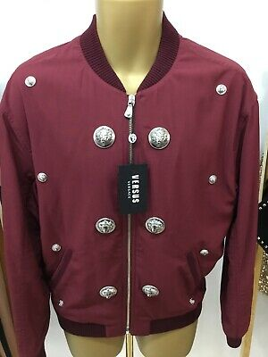 VERSACE mens Cabernet Lion Head Embellished Bomber Jacket EU 48 UK M £675