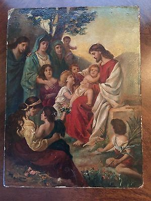 Antique (19th C religious oil painting on Canvas Of Jesus Christ, Children.
