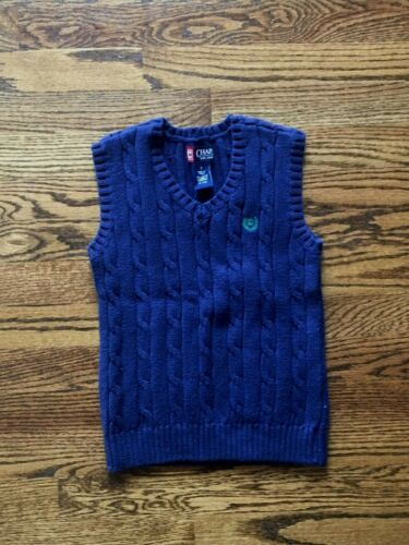 CHAPS BOYS 7 NAVY BLUE CABLE KNIT SWEATER VEST