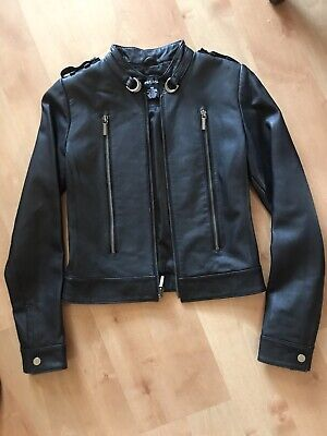 Black LEATHER Jacket PUNK biker MOTO Goth XS Womens SKINNY fitted COAT Wet Seal Fitted Leather Jacket